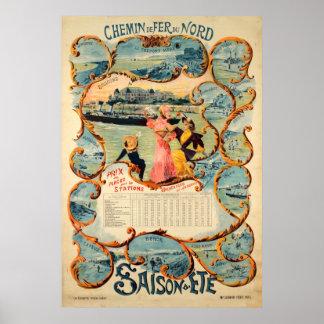 Chemin de fer du Nord Saison Dete Vintage Travel Poster