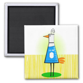 "Chemist ""Beeker Bird"" Gifts Square Magnet"