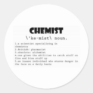 Chemist Definition Round Sticker