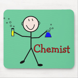 Chemist Gifts-Stick Person With Test Tubes Mouse Pad