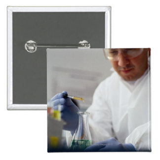 Chemist Measuring Drops into a Flask 15 Cm Square Badge