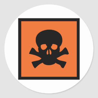 chemist skull sign round stickers