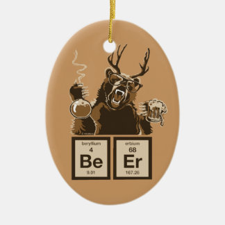 Chemistry bear discovered beer christmas ornament