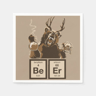 Chemistry bear discovered beer disposable serviettes