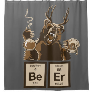 Chemistry bear discovered beer shower curtain