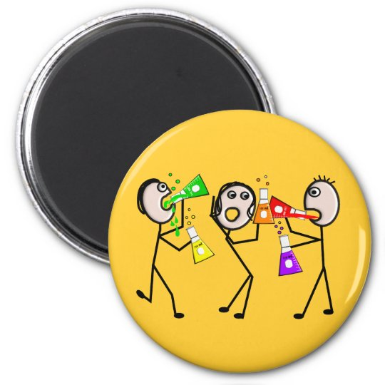 Chemistry/Chemists Stick People Gifts 6 Cm Round Magnet