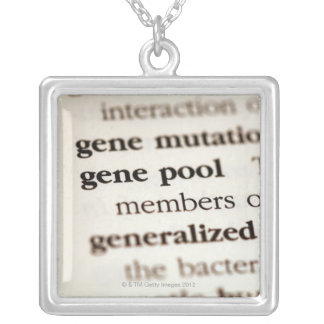 Chemistry definitions on paper silver plated necklace