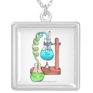Chemistry Experiment Silver Plated Necklace
