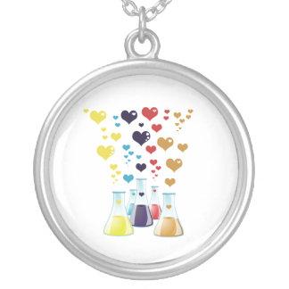 Chemistry Flask, Hearts - Red Blue Yellow Purple Round Pendant Necklace