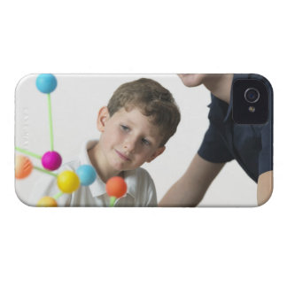 Chemistry lesson. 6 year old boy and his teacher iPhone 4 cases
