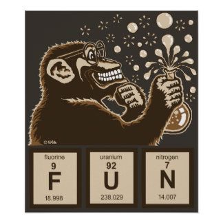 Chemistry monkey discovered fun poster