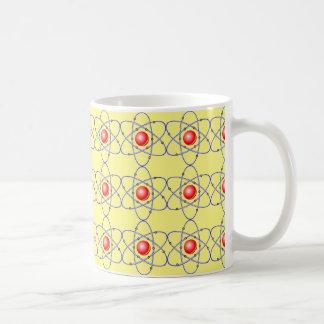 chemistry, nucleus. big-bang. yellow background basic white mug