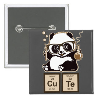 Chemistry panda discovered cute 15 cm square badge