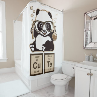 Chemistry panda discovered cute shower curtain