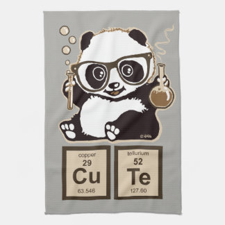 Chemistry panda discovered cute tea towel