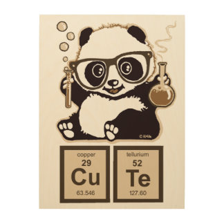 Chemistry panda discovered cute wood canvas