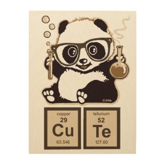 Chemistry panda discovered cute wood print