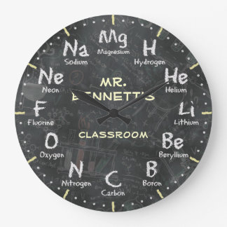 Chemistry Science Chalkboard Personalizable Clock