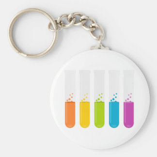 Chemistry Science Test Tubes Basic Round Button Key Ring