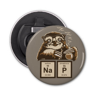 Chemistry sloth discovered nap bottle opener