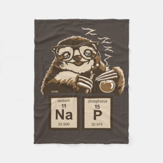 Chemistry sloth discovered nap fleece blanket