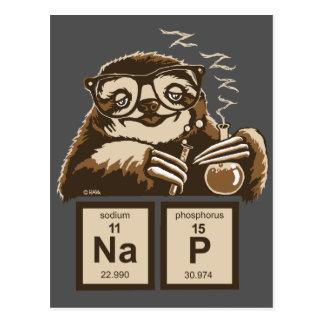 Chemistry sloth discovered nap postcard