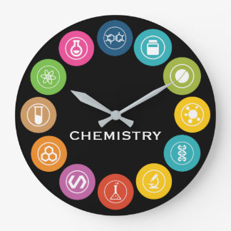 Chemistry Teacher Symbols Black Large Clock