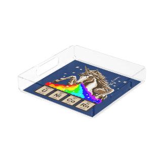 Chemistry unicorn pukes rainbow acrylic tray