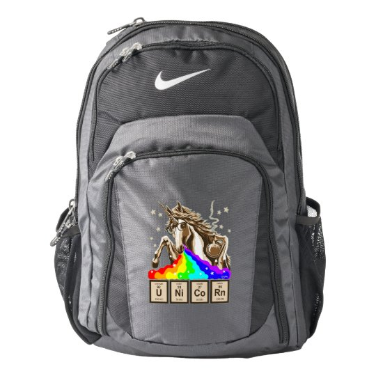 Chemistry unicorn pukes rainbow backpack