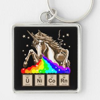 Chemistry unicorn pukes rainbow key ring