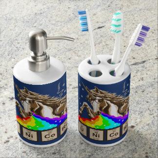 Chemistry unicorn pukes rainbow soap dispenser and toothbrush holder