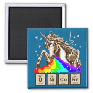 Chemistry unicorn pukes rainbow square magnet