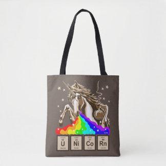 Chemistry unicorn pukes rainbow tote bag