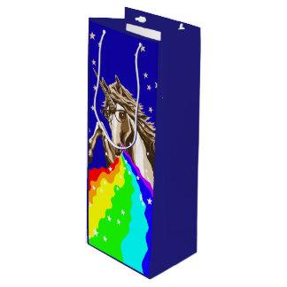 Chemistry unicorn pukes rainbow wine gift bag