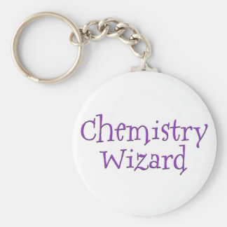 Chemistry Wizard Basic Round Button Key Ring