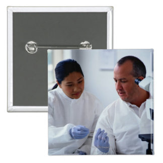 Chemists Looking at a Glass Slide Together 15 Cm Square Badge