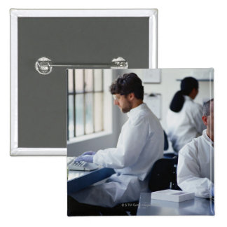 Chemists Working in a Laboratory 15 Cm Square Badge