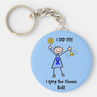 Chemo Bell - Colon Cancer Woman Basic Round Button Key Ring