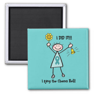 Chemo Bell - Ovarian Cancer Teal Ribbon Square Magnet
