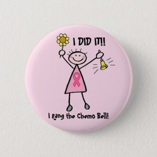 Chemo Bell - Pink Ribbon Breast Cancer 6 Cm Round Badge