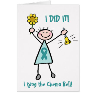 Chemo Bell - Uterine Cancer Teal Ribbon Greeting Card