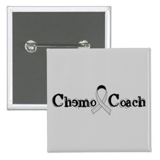 Chemo Coach - Grey Ribbon Brain Tumor / Cancer 15 Cm Square Badge