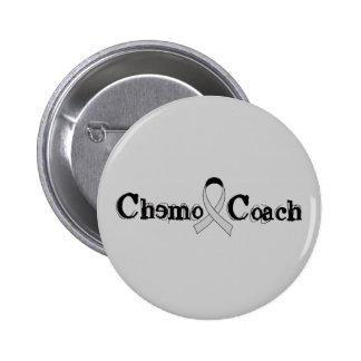 Chemo Coach - Grey Ribbon Brain Tumor / Cancer 6 Cm Round Badge