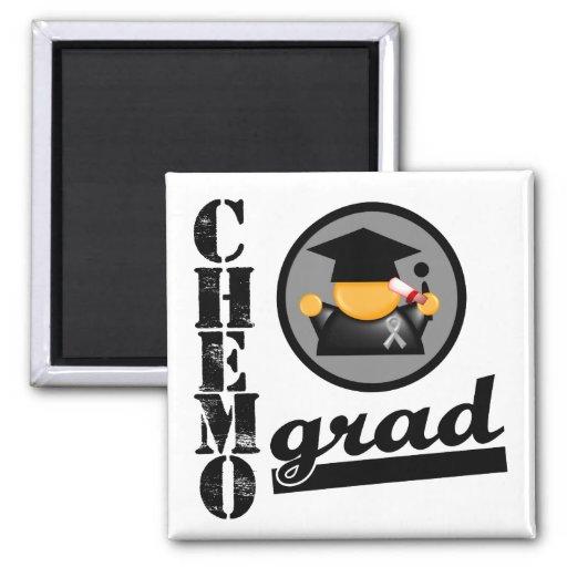Chemo Grad Brain Cancer Ribbon Refrigerator Magnets