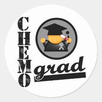 Chemo Grad Brain Cancer Ribbon Round Stickers