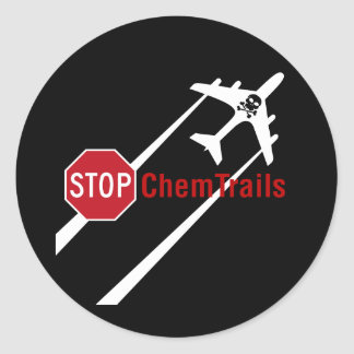 Chemtrail Plane Presistent Contrails Skull Bones Round Sticker