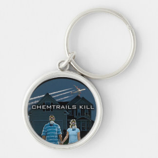 CHEMTRAILS KILL Silver-Colored ROUND KEY RING