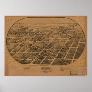 Chenoa Illinois 1869 Antique Panoramic Map Poster