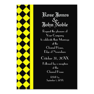 ChequerBoard Ebony (Yellow) Wedding Invitation