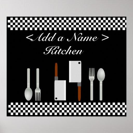 Chequerboard Kitchen Poster Print